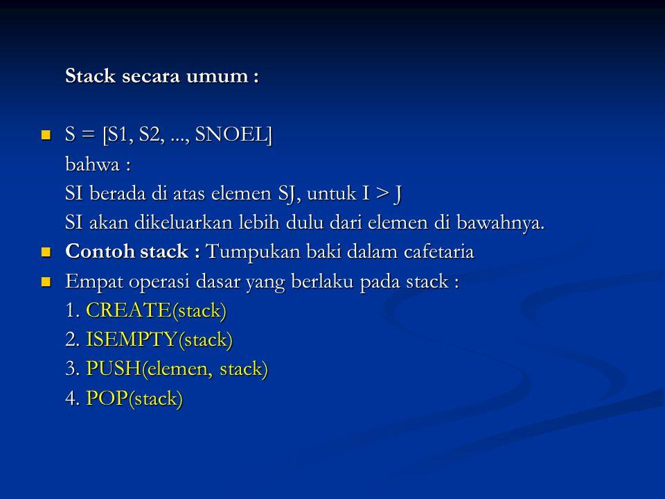 Stack secara umum : S = [S1, S2, ..., SNOEL] bahwa : SI berada di atas elemen SJ, untuk I > J.
